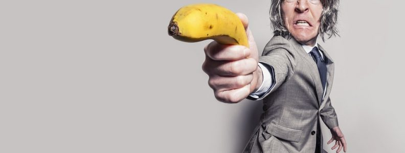 angry man with a banana